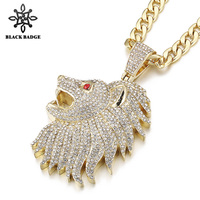 Men Charm Hip Hop Jewelry Large Lion Head Pendant Iced Out Crystal Red Eye Fashion Necklace Stainless Steel Titanium Chain