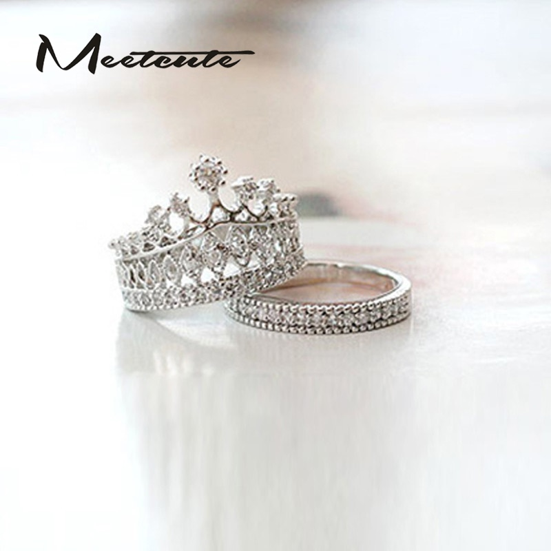 Meetcute 2pcs/set Elegant Crown Ring for Woman Jewelry Fashion Crystal Rhinestone Girls Silver Plated Womens Rings Jewelry