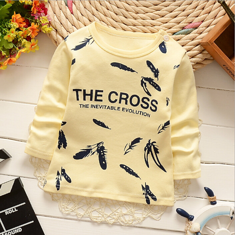 цены  Baby Boys T-shirt Children Clothing 2017 Fashion Boys Long Sleeve Tops Animal Letter Kids Clothes T-shirts for Girls Sweatshirt
