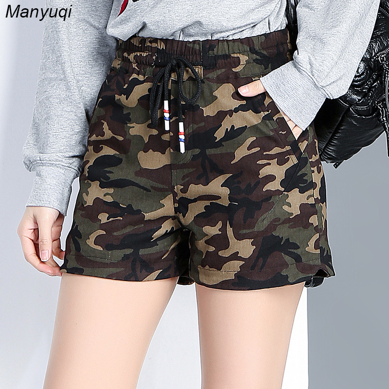 New summer Camouflage cotton   shorts   women elastic waist slim relaxed   shorts   jeans female
