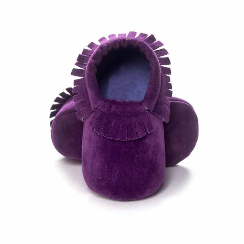 Recién Nacido PU zapatos de cuero de gamuza bebé niño niña mocasines zapatos suaves flecos suela suave antideslizante zapatos de cuna