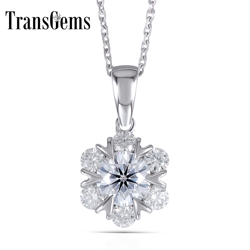 Transgems 14K White Gold 585 6.5MM F Color 1.6CTW Round Brilliant Mossanite Flower Shaped Pendant Necklace for WomenTransgems 14K White Gold 585 6.5MM F Color 1.6CTW Round Brilliant Mossanite Flower Shaped Pendant Necklace for Women