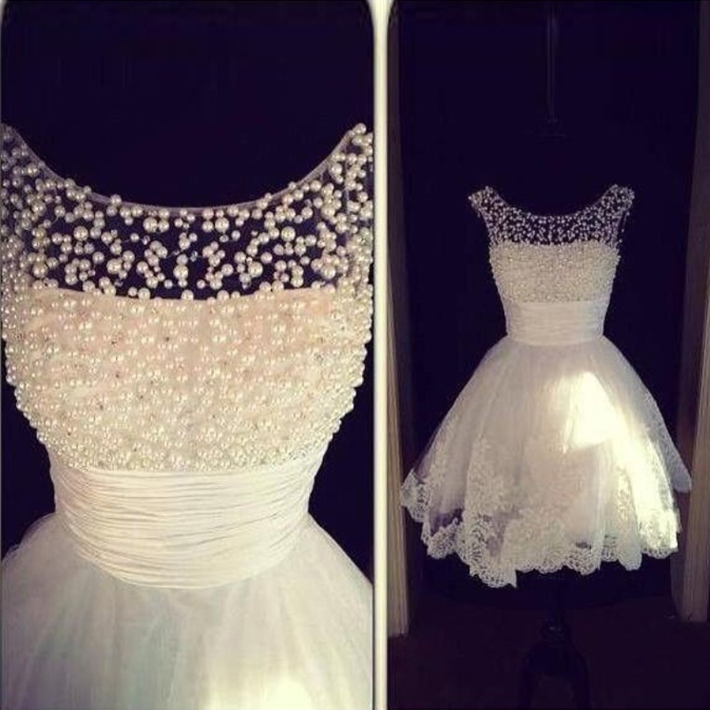 2017 Cute Cheap Pearl White Short Wedding Dresses Sexy Lace Wedding Gowns  Ball Gown Backless Weddings Ivory Vestido De Noiva In Wedding Dresses From  ...