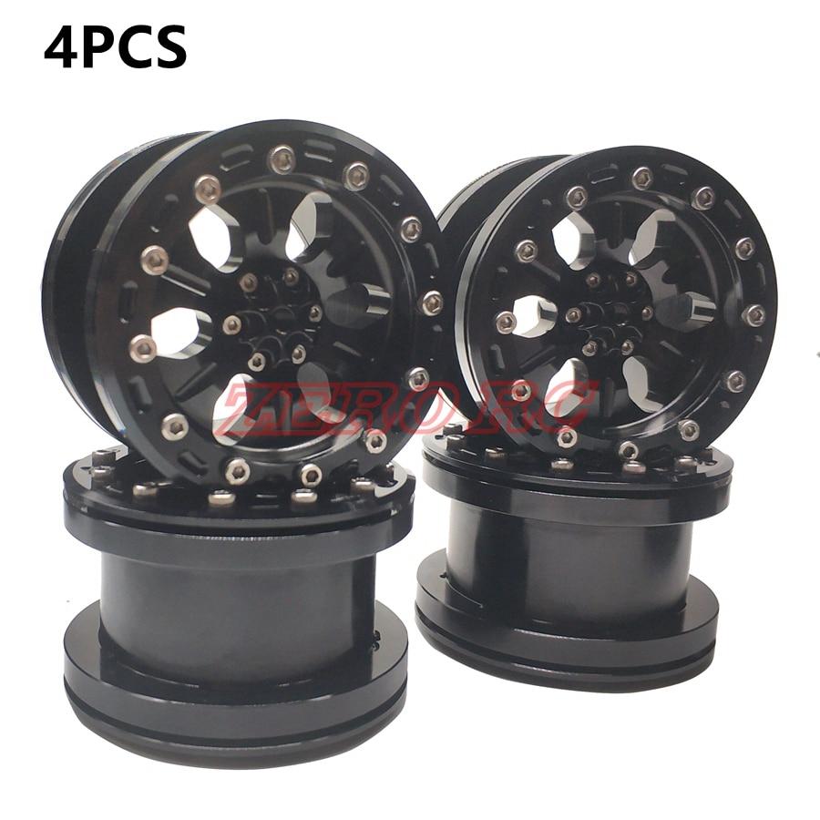 4PCS ROCK CRAWLER BEADLOCK 2 2 WHEEL RIM 6 Spoke BLACK For AXIAL SCX10 WRAITH RR10