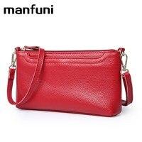 MANFUNI Fashion Genuine Leather Handbags For Women Messenger Bags Crossbody Bag Wrist Strap Purses And Handbag