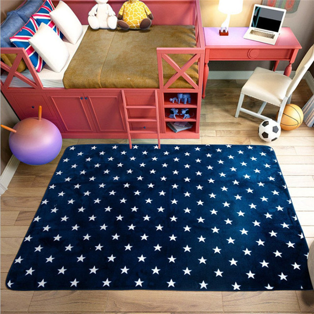 Fadfay Navy Blue Modern Kids Rugs Anti Slip Kids Bedroom Large Living Room  Carpets Blue