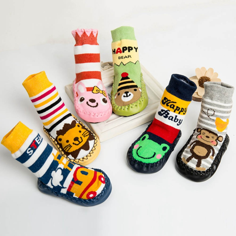Baby Kleinkind Cartoon Tier Nette Socken Innen Kinder Weichen Boden Socken Mit Leder Sohle Anti-slip Herbst Winter Terry Socken
