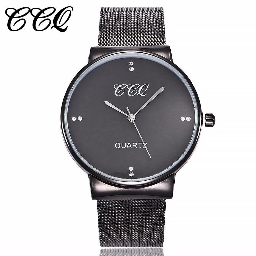 Hot Sale CCQ Brand Women Simple Style Mesh Band Watch Casual Men Stainless Steel Quartz Wristwatches Gift Clock Montre Femme