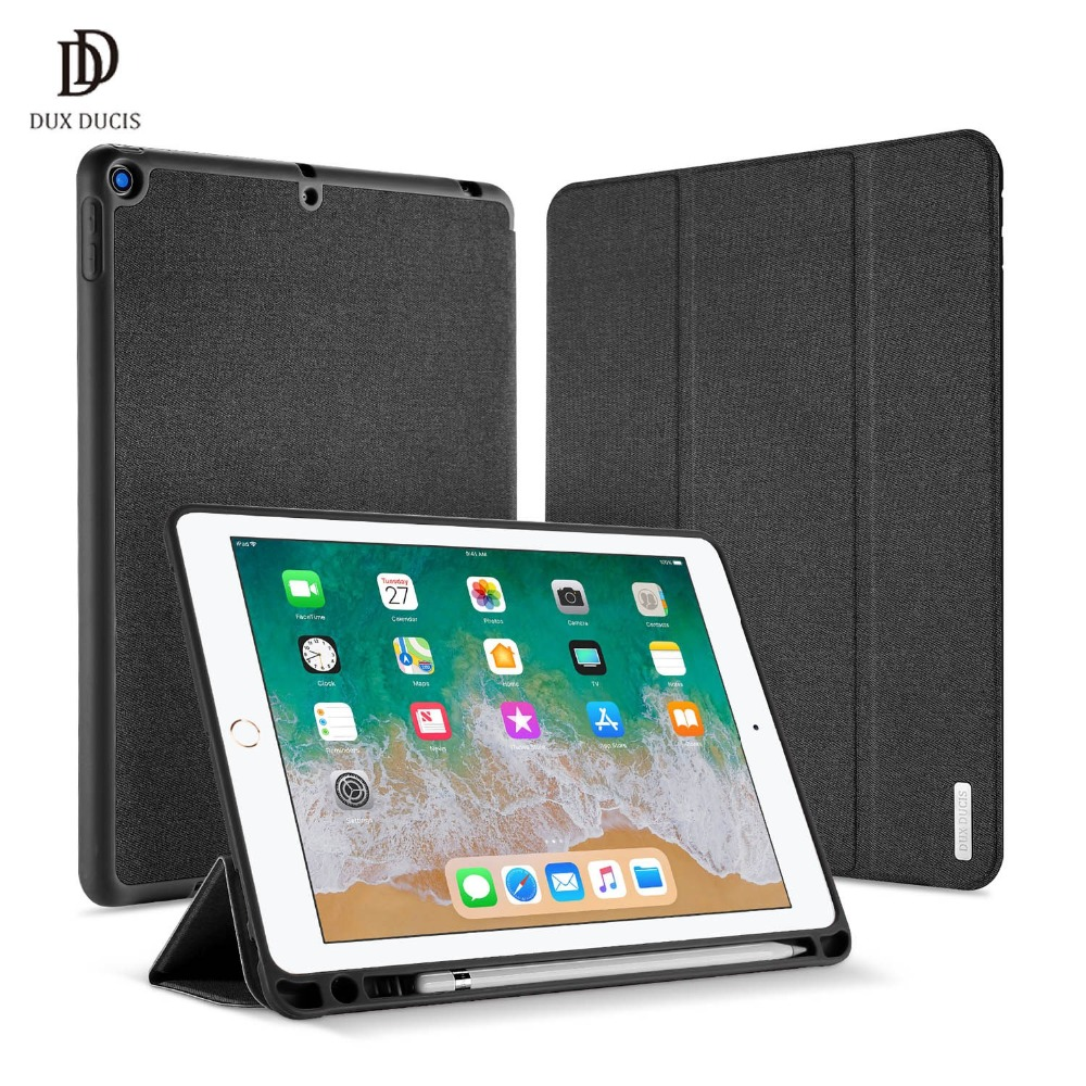 DUX DUCIS Smart PU Leather Case for iPad 9.7 2017 Protective Stand Cover for iPad 9.7 2018 A1893 A1954 Tablet With Pencil Holder for ipad pro 12 9 2017 2015 smart tablet case cover high quality genuine leather pu folding stand case card slots pencil holder