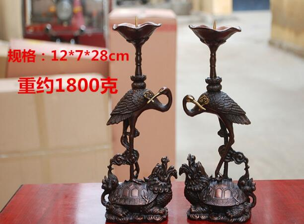 Chinese fine gold sculpture Buddhist bronze Candlestick dragon turtle statue Red Crowned Crane sculpture