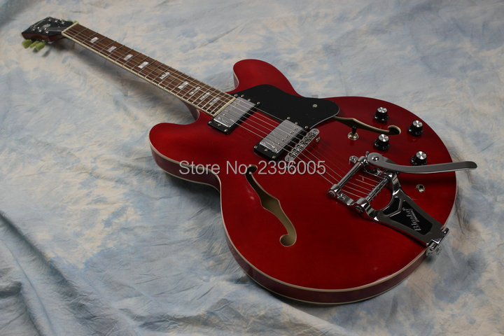 Hot Sale ES 335 electric guitar hollow jazz electric guitar semi-hollow body apple red color bigsby bridge real guitar pictures new style high quality hollow body es 335 jazz electric guitar case black leather hard case with white lining free shipping