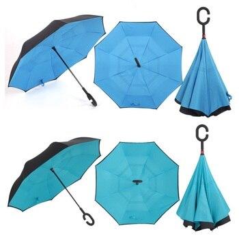 C Handle Windproof Reverse Folding Umbrella Man Women Sun Rain Car Inverted Umbrellas Double Layer Anti UV Self Stand Parapluie