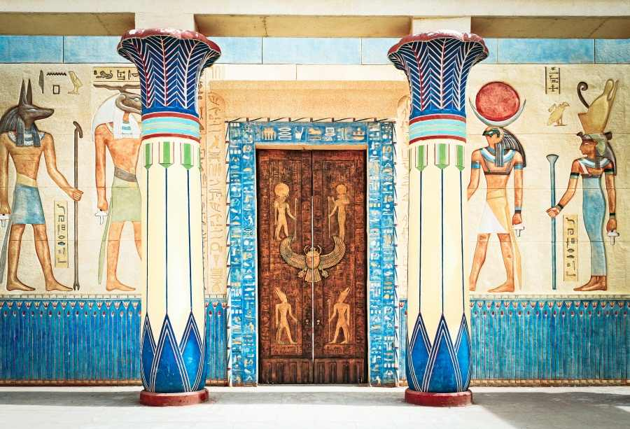 Laeacco Old Egyptian Mural Wall House Door Pillars Photography Backgrounds  Customized Photographic Backdrops For Photo Stadio