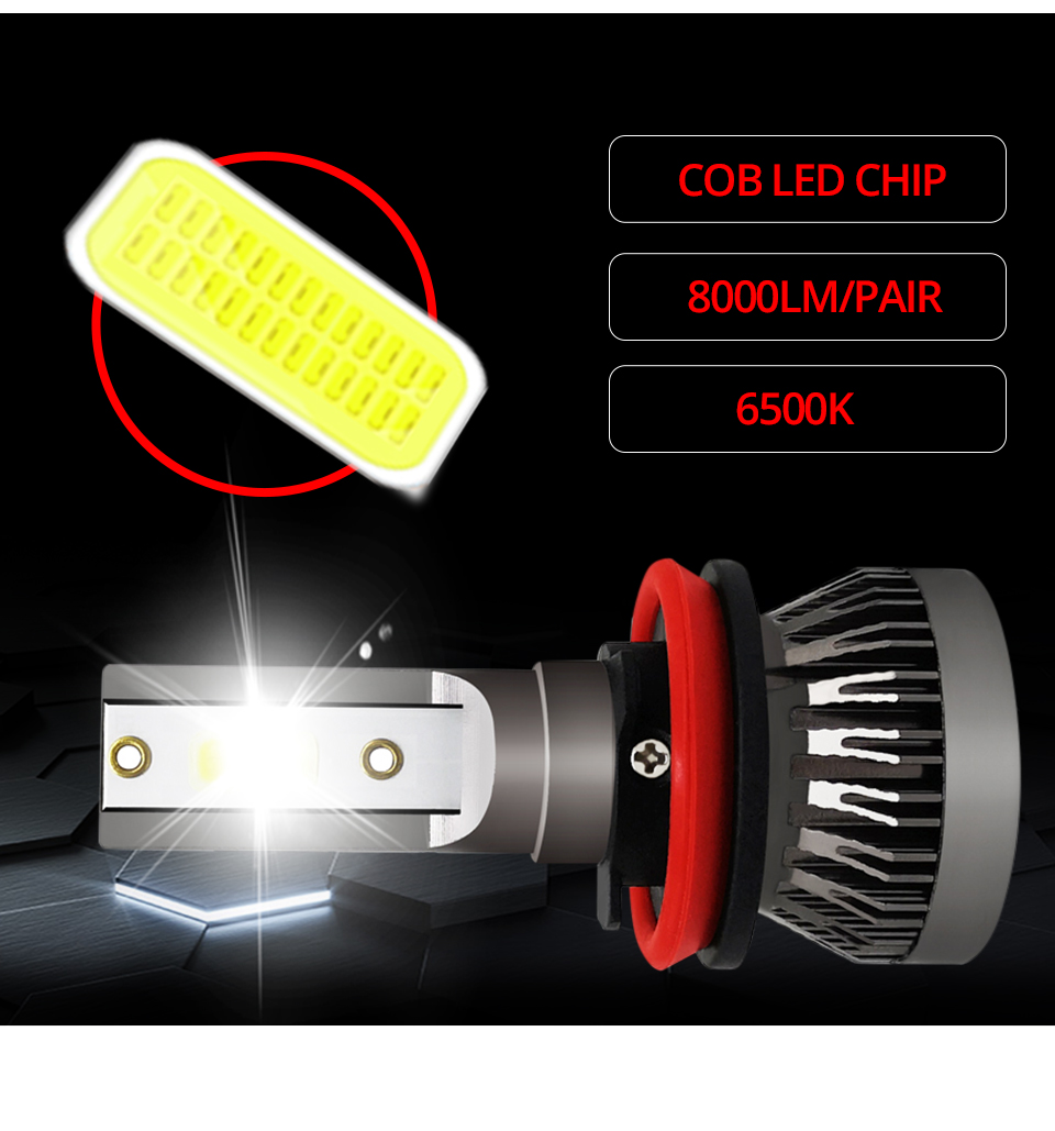 2Pcs Meetoo Motorcycle Headlight H7 Led bulb HB3 HB4 H11 9006 8000LM Motorbike Light White 6500K Moped Scooter Outdoor Lighting (3)