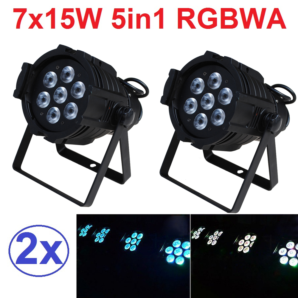 2xLot Sales 2016 Led Par Light 7X15W RGBWA 5in1 100W DJ Disco DMX Stage Lights Par Can Led Effect Club Party Lighting Free Ship niugul dmx stage light mini 10w led spot moving head light led patterns lamp dj disco lighting 10w led gobo lights chandelier