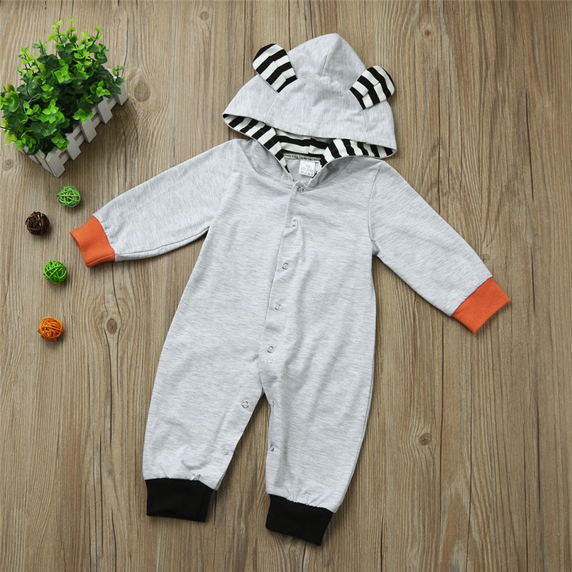 2018 Winter Babys Clothes Toddler Infant Baby Boys Girls Fox Print Long Sleeve Stripe Hooded Jumpsuit Romper Clothes JY26#F (7)