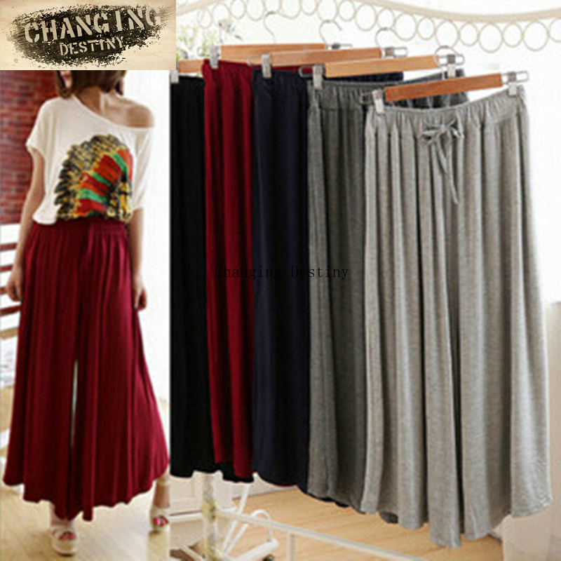 Summer Slim Fluid   Wide     Leg     Pants   Female Trousers Pure Color Plus Size High   Wide  -  Leg     Pants   Feet Straight Casual Boot Cut