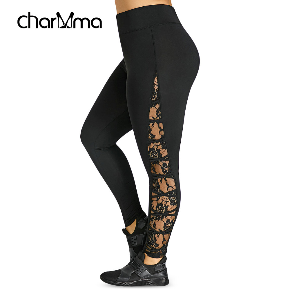 New High Elastic Waist Leggings Women Sexy Criss Cross Plus Size Lace Panel Leggings Female Workout 2019 Summer Trousers 5XL 4XL
