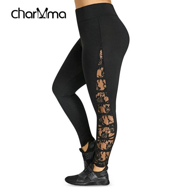 Nieuwe Hoge Elastische Taille Leggings Vrouwen Sexy Criss Cross Plus Size Kant Panel Leggings Vrouwelijke Workout 2019 Zomer Broek 5XL 4XL