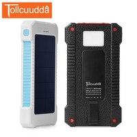 Tollcuudda ماء الشمسية مصرف الطاقة الخارجية شاحن البطارية الشمسية المزدوجة usb شاحن ل iphone5 6 ثانية xiaomi الهواتف المحمولة