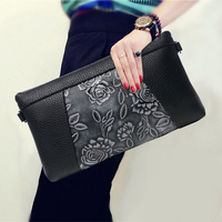Vintage Flower Pattern Women Genuine Leather Day Clutches Korean Style Zipper Cowhide Envelope Bag New Travel