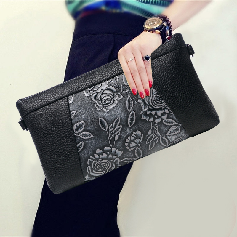 Vintage Flower Pattern Women Genuine Leather Day Clutches Korean Style Zipper Cowhide Envelope Bag New Travel Clutch Bags women s genuine leather day clutches 2016 new china designers women s cowhide embossing one shoulder bags fashion day clutches