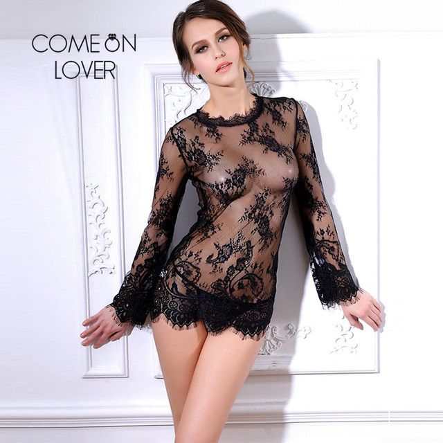 RI80215 Unique Sexy Babydoll Black Transparent Lace Erotic Costume Long Sleeve Top+G string Sexy Underwear Lenceria Sexy Mujer