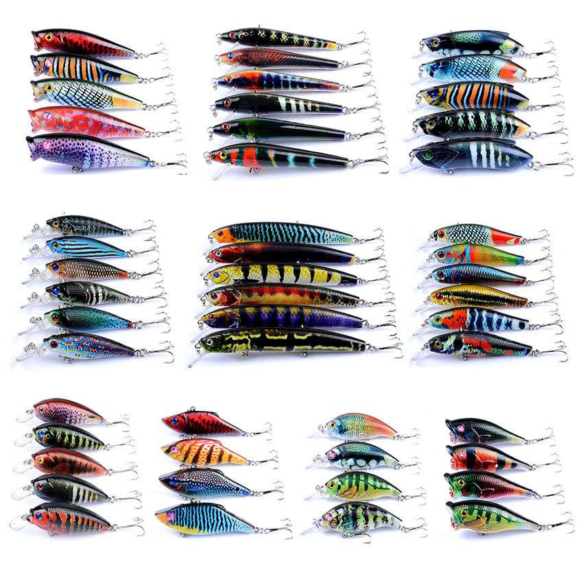 Fishing Lure Crank Bass Minnow Popper VIB 5g-15.9g Mixed Set Hard Bionic 3D eyes Painted Bait Wobblers Swim Fishing Tackle 39pcs artificial fishing lure set hard metal bait minnow popper spoon lure fishing tackle mixed color style weight