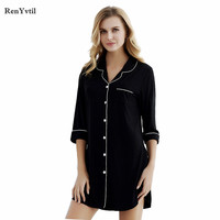 RenYvtil 2017 New Solid Sexy Nightgowns Female Home Clothing Modal Sleepwear Women Sleepshirts Plus Size M