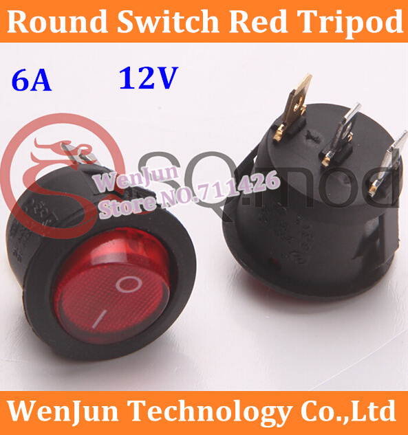 Free Shipping Red  Round Switch Tripod 6A Diameter 20MM Rocker switch With lamp 12V red light
