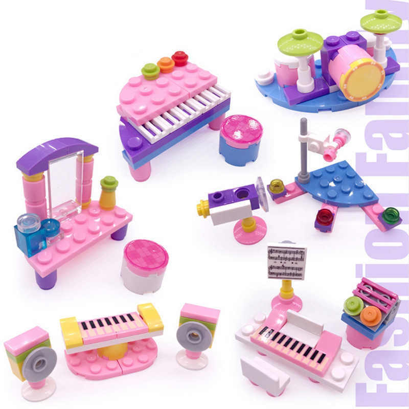 New Dream Girls Micro building Blocks Practice the Piano Girls DIY Gift Building Block For Kids Gifts Educational Toys Set JM182