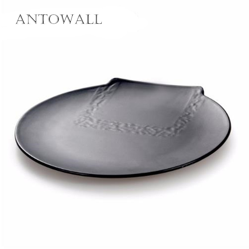 ANTOWALL Personality Big Black Melamine Plate Cafeteria a Large Supply of Food Household Dinner