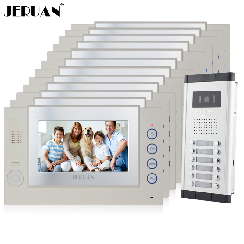 JERUAN Apartment 12 White Doorbell 7 inch Video Door Phone Record Intercom System 1 HD IR Camera for 12 Household 8GB SD Card my apartment