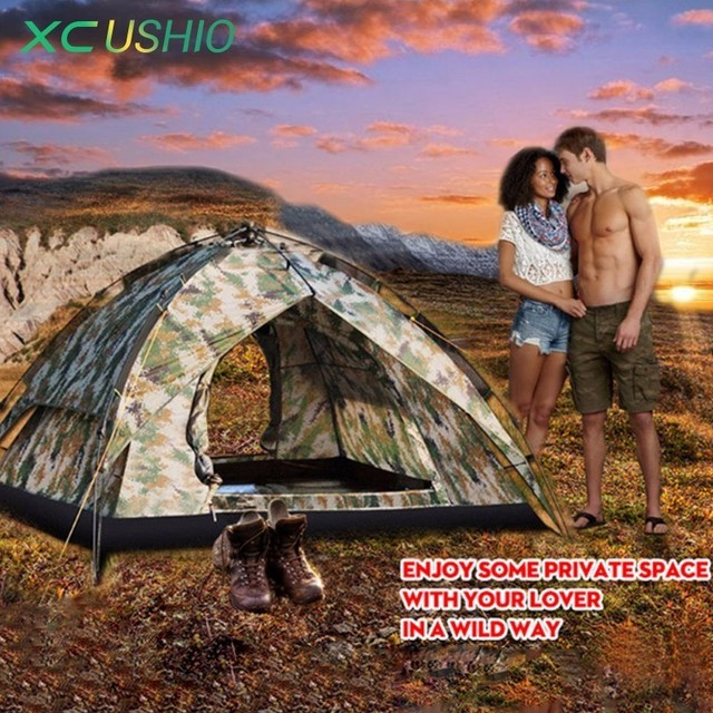 200x200x140cm Double Layer Camouflage Camping Tent 3-4 Person Automatic Quick Open Outdoor Fishing Hunting Tent 3.6Kg