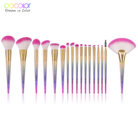 Docolor 17 PCS Makeup Brush Set Flat Kabuki Foundation Powder Highlight Eyeshadow Blending Blush Brush Synthetic