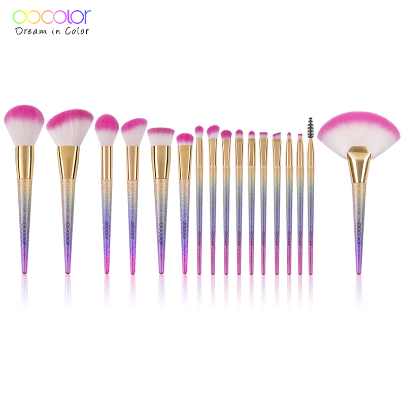 Docolor 17 PCS Makeup Brushes Flat Kabuki Foundation Powder Highlight Eyeshadow Blending Brush Synthetic Hair Make Up Brushes beili single 104 flat kabuki single synthetic hair face для умывальника румяна черная макияжная кисть