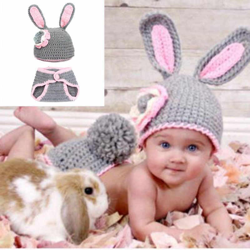 Noworodka ubrania dla dzieci dziewczyna chłopiec szydełka dziergany kostium fotografia fotografia rekwizyty ręcznie wykonane akcesoria królik czapki dla dzieci pies kapelusze zestaw