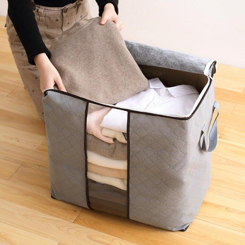 Bamboo Portable Save Space Clothes Storage Bag Organizer 60*40*35cm Folding Closet Organizer For Pillow Quilt Blanket Bedding