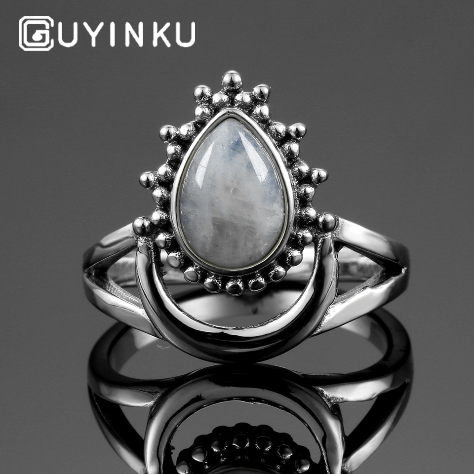 GUYINKU Geniune 925 Sterling Silver Natural Moonstone Rings For Women Water Drop Shaped Sterling 925 Silver Fine Jewelry Ring