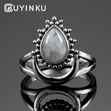 GUYINKU Geniune 925 Sterling Silver Natural Moonstone Rings for Women Water Drop Shaped Fine Jewelry Ring