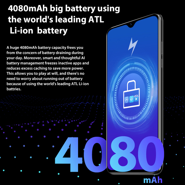 Blackview A60 4080mAh Smartphone Quad Core Android 8.1 Cellphone 6.1 inch 19.2:9 Screen Dual Camera 1GB+16GB Mobile Phone 4