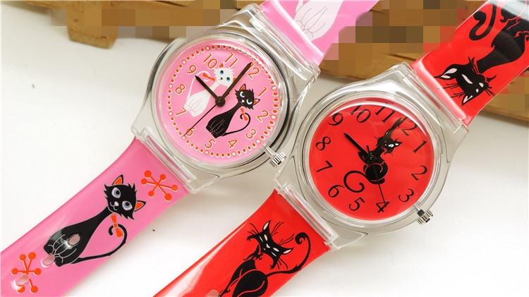 High Quality fashion Cat Cartoon Design watch / cute Children clock / kid Quartz Wrist Watches 3d eye despicable me minion cartoon watch precious milk dad cute children clock baby kid quartz wrist watches for girls boys