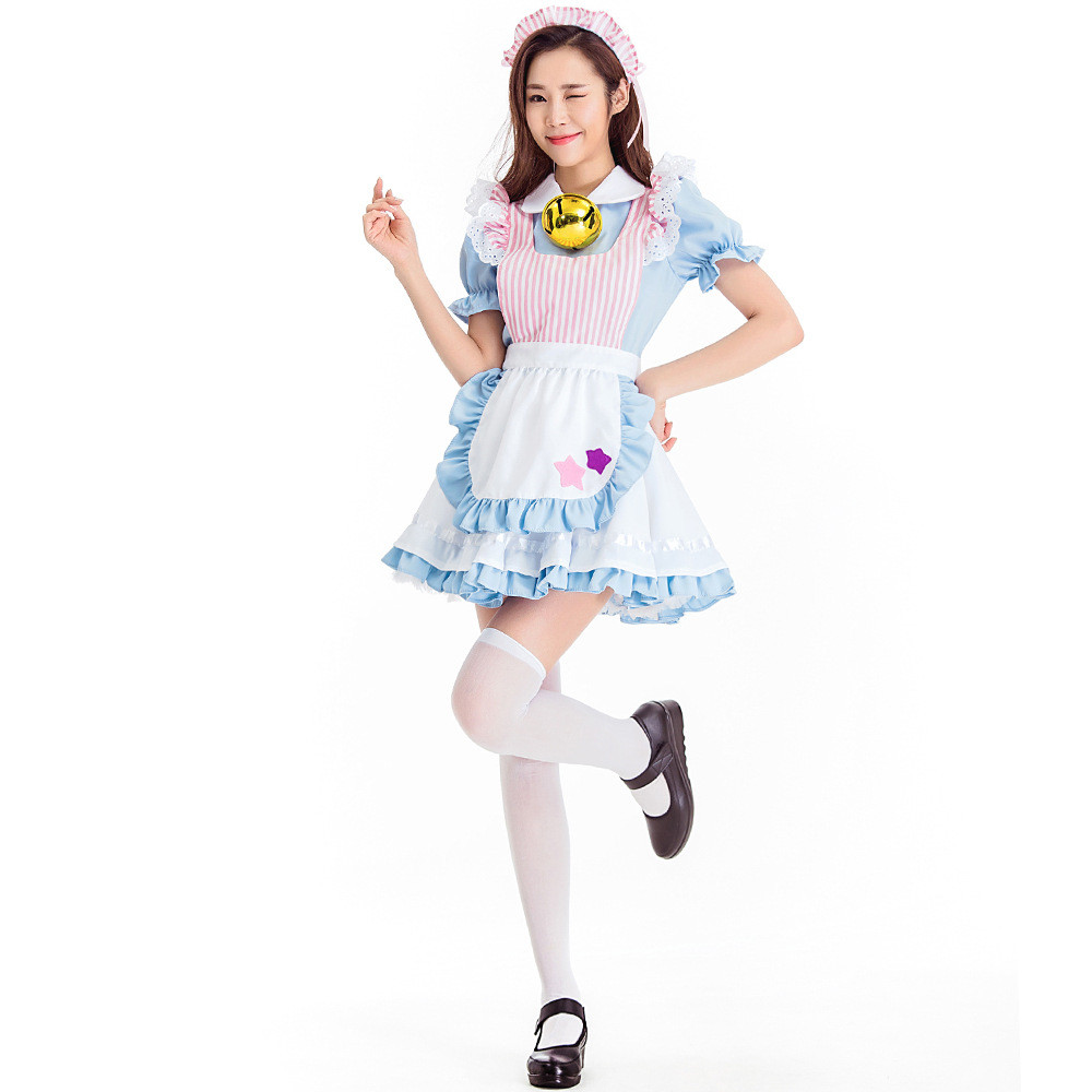 Light Blue Woman Halloween Maid Costume Alice in Wonderland Princess Cosplay Carnival Purim Masquerade Role play Bar party dress