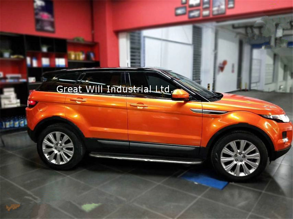 Orange Glossy Candy Vinyl Wrap Film With Air Free Bubble Candy Orange Gloss Car Wrap Covering Style Size 1.52*20m/Roll