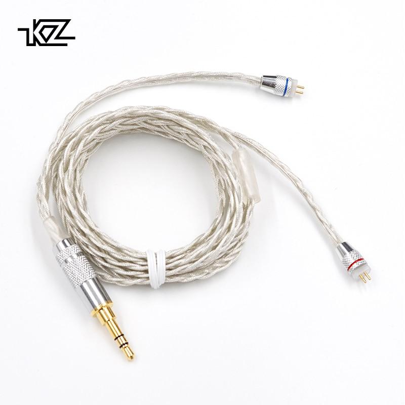 KZ ZST ZS10 BA10 ES4 AS10 Cuffia Aggiornamento Filo Intrecciato in argento placcato filo di Cavo del Trasduttore Auricolare 0.75mm Spille FAI DA TE Staccabile cavo Audio