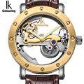 IK Self-Vento Relógios Mecânicos Automáticos Homens Relógios Top Marca de Luxo Subiu Caso de Ouro de Couro Genuíno Esqueleto Relógio relogios masculino