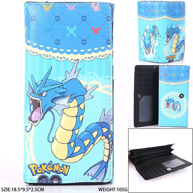 Anime Pikachu Go Gyarados Long Wallet Pocket Monster High Quality PU Purse With Magnetic Button MYCQB 7