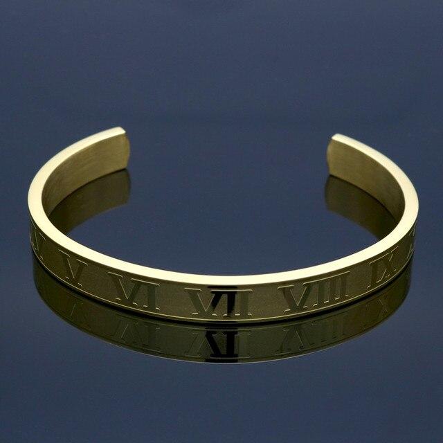 Браслет из титановой нержавеющей стали с римскими цифрами браслет