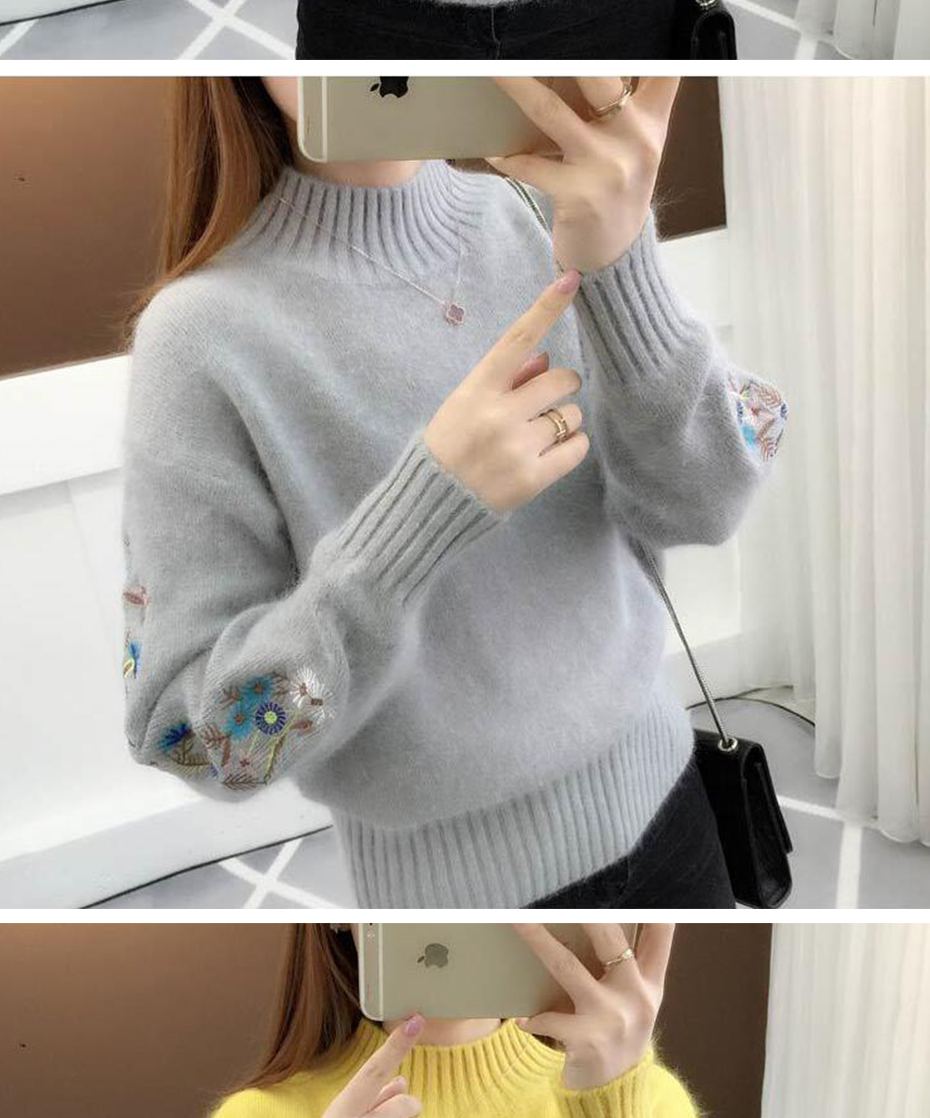 Surmiitro Cashmere Women Turtleneck 19 Autumn Winter Knitted Embroidery Jumper Women Sweaters And Pullovers Female Pull Femme 11