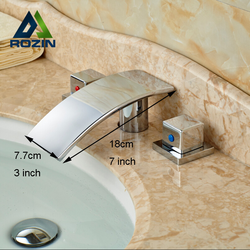 ФОТО Dual Handle Waterall Basin Faucet Deck Mount Bathroom Brass Water Tap Chrome Finish